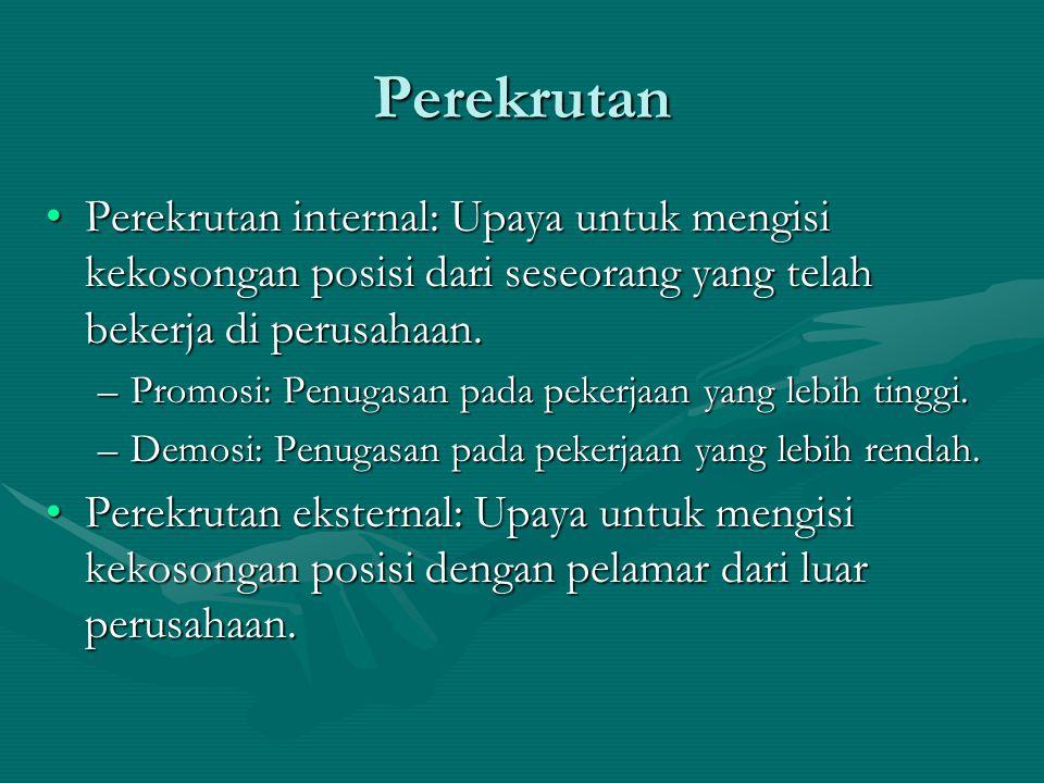 Perekrutan Perekrutan internal: Upaya untuk mengisi kekosongan posisi dari seseorang yang telah bekerja di perusahaan.Perekrutan internal: Upaya untuk