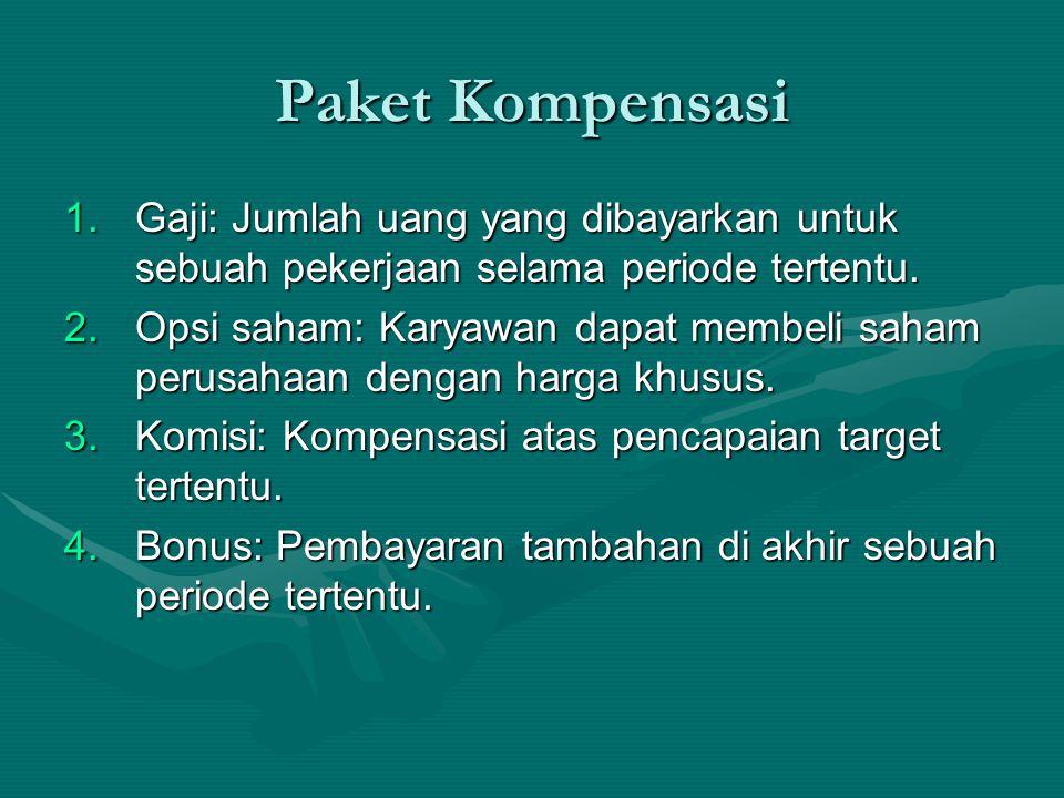 Paket Kompensasi 1.Gaji: Jumlah uang yang dibayarkan untuk sebuah pekerjaan selama periode tertentu. 2.Opsi saham: Karyawan dapat membeli saham perusa