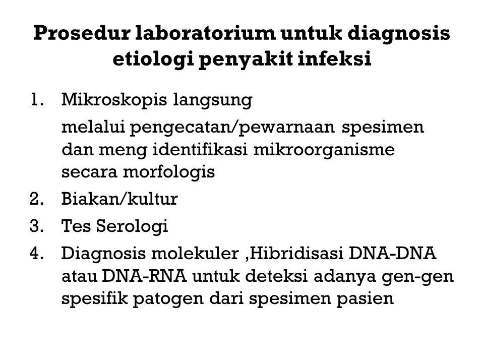 Prosedur laboratorium untuk diagnosis etiologi penyakit infeksi 1.Mikroskopis langsung melalui pengecatan/pewarnaan spesimen dan meng identifikasi mik