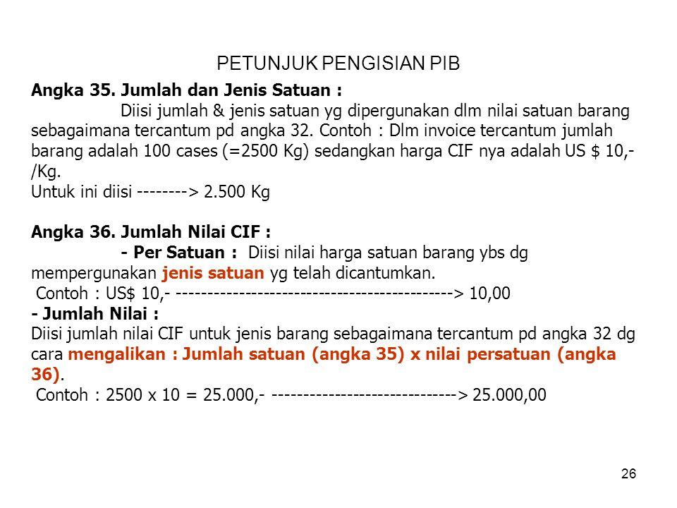 Angka 33. Negara Asal : Diisi negara asal masing-masing jenis barang tsb. Angka 34. Tarif dan Fasilitas : Diisi besarnya tarif (pembebasan) bagi setia