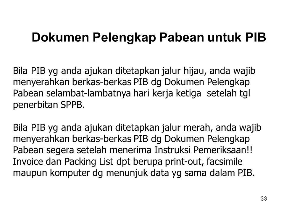 Dokumen pelengkap Pabean adalah dokumen yg diserahkan untuk menyertai PIB yg digunakan sebagai salah satu dasar dlm penelitian atau pemeriksaan dokume