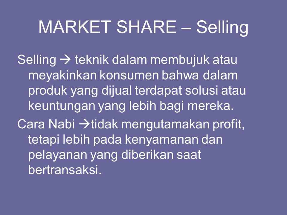 MARKET SHARE – Selling Selling  teknik dalam membujuk atau meyakinkan konsumen bahwa dalam produk yang dijual terdapat solusi atau keuntungan yang le