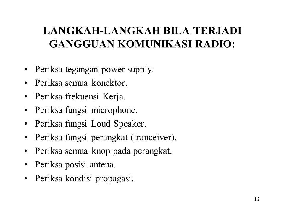 12 LANGKAH-LANGKAH BILA TERJADI GANGGUAN KOMUNIKASI RADIO: Periksa tegangan power supply. Periksa semua konektor. Periksa frekuensi Kerja. Periksa fun