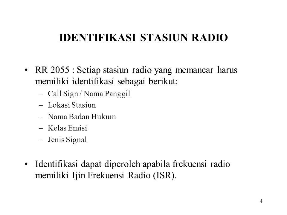 4 IDENTIFIKASI STASIUN RADIO RR 2055 : Setiap stasiun radio yang memancar harus memiliki identifikasi sebagai berikut: –Call Sign / Nama Panggil –Loka