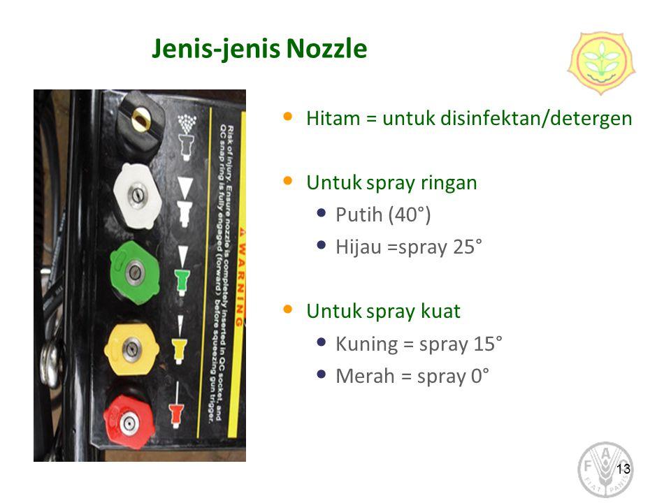 Jenis-jenis Nozzle Hitam = untuk disinfektan/detergen Untuk spray ringan Putih (40°) Hijau =spray 25° Untuk spray kuat Kuning = spray 15° Merah = spra