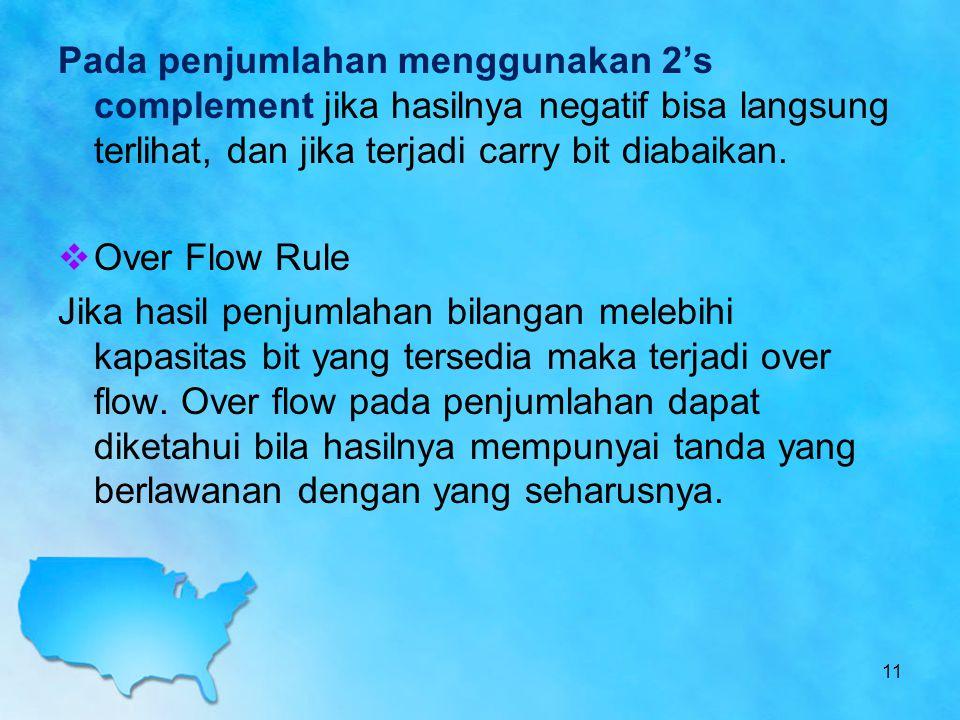 Pada penjumlahan menggunakan 2's complement jika hasilnya negatif bisa langsung terlihat, dan jika terjadi carry bit diabaikan.  Over Flow Rule Jika