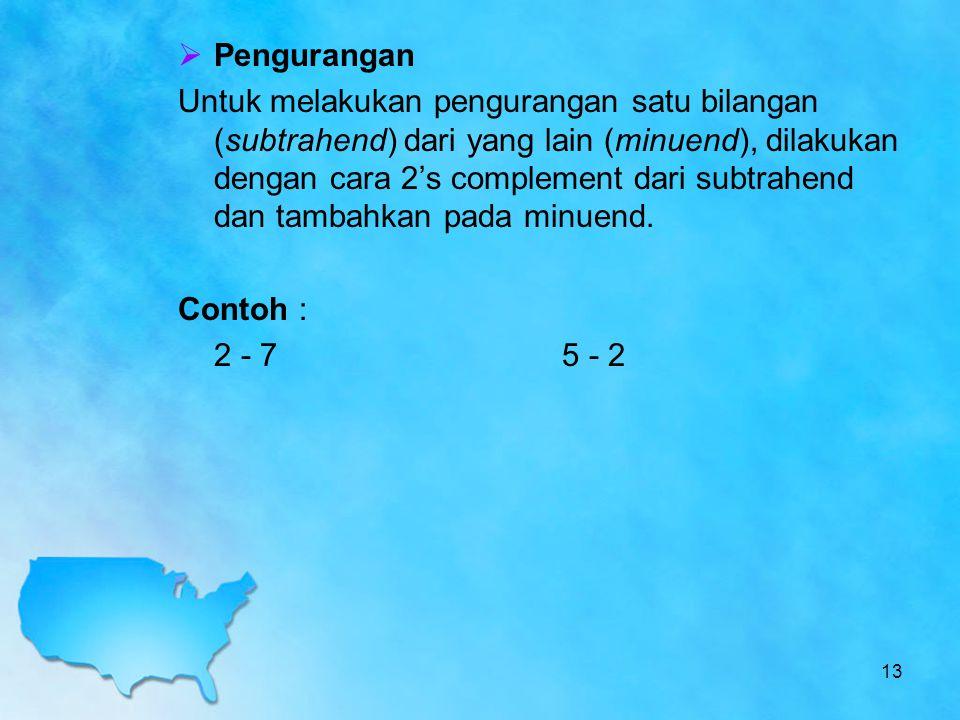 Pengurangan Untuk melakukan pengurangan satu bilangan (subtrahend) dari yang lain (minuend), dilakukan dengan cara 2's complement dari subtrahend da