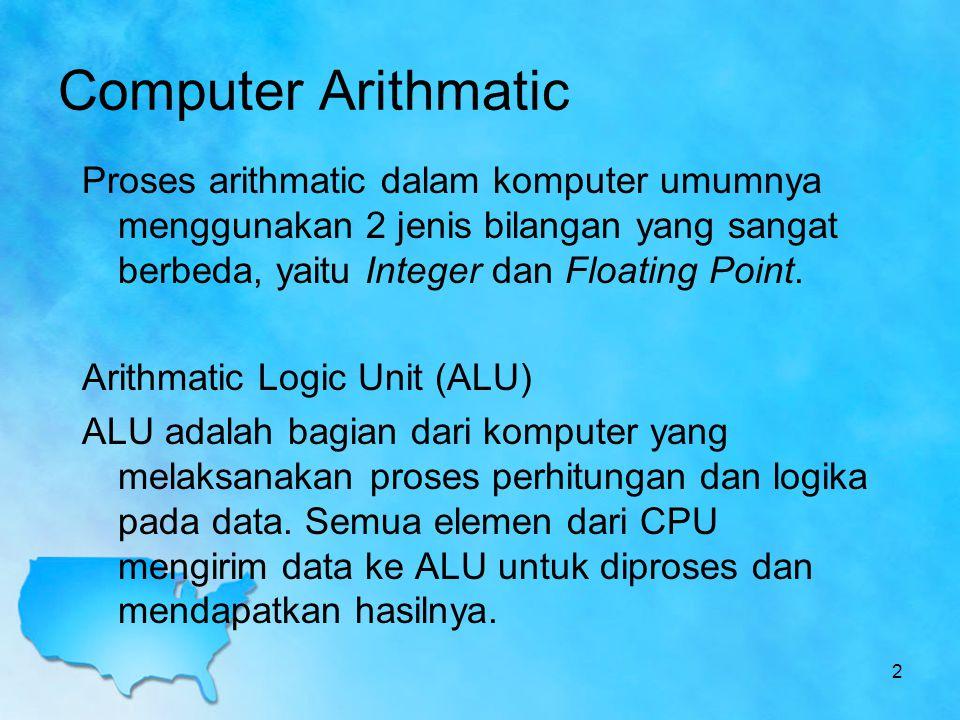Proses arithmatic dalam komputer umumnya menggunakan 2 jenis bilangan yang sangat berbeda, yaitu Integer dan Floating Point. Arithmatic Logic Unit (AL