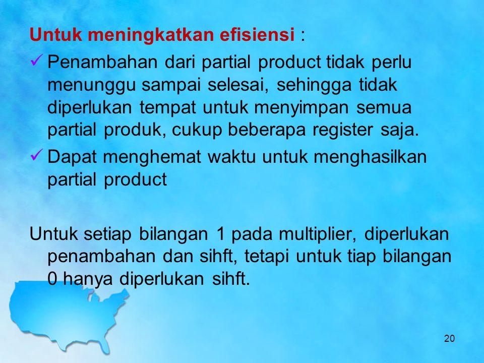 Untuk meningkatkan efisiensi : Penambahan dari partial product tidak perlu menunggu sampai selesai, sehingga tidak diperlukan tempat untuk menyimpan s