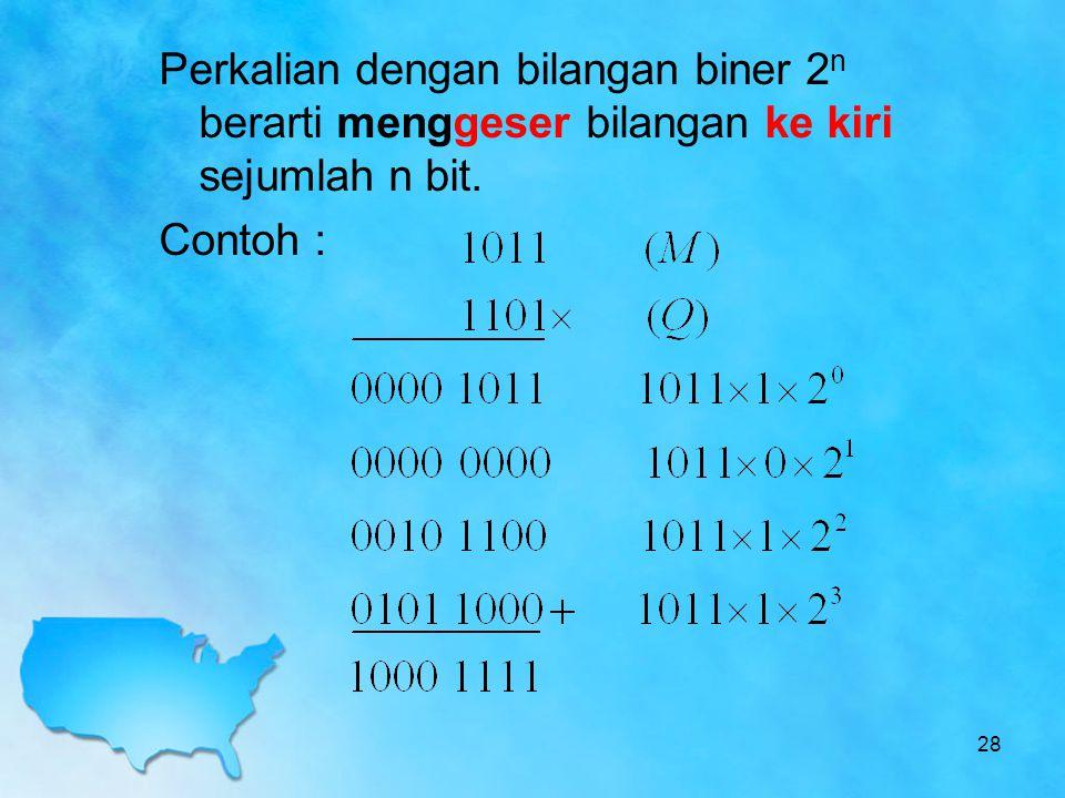 Perkalian dengan bilangan biner 2 n berarti menggeser bilangan ke kiri sejumlah n bit. Contoh : 28