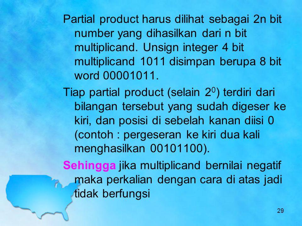 Partial product harus dilihat sebagai 2n bit number yang dihasilkan dari n bit multiplicand. Unsign integer 4 bit multiplicand 1011 disimpan berupa 8