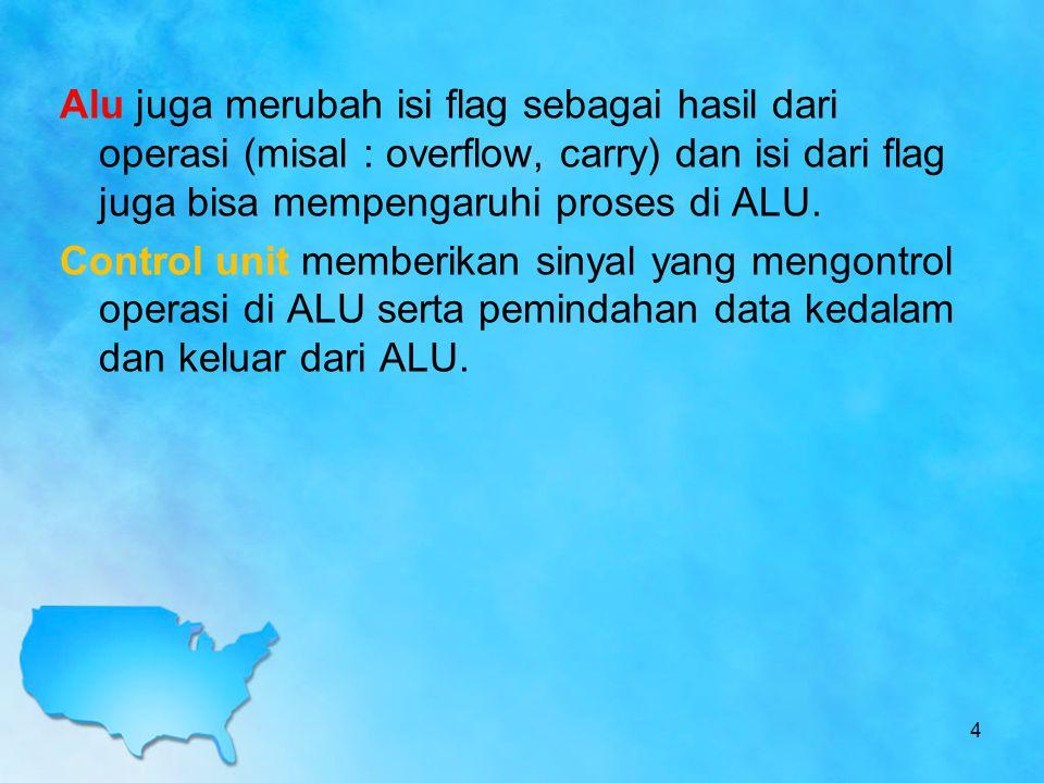 Alu juga merubah isi flag sebagai hasil dari operasi (misal : overflow, carry) dan isi dari flag juga bisa mempengaruhi proses di ALU. Control unit me
