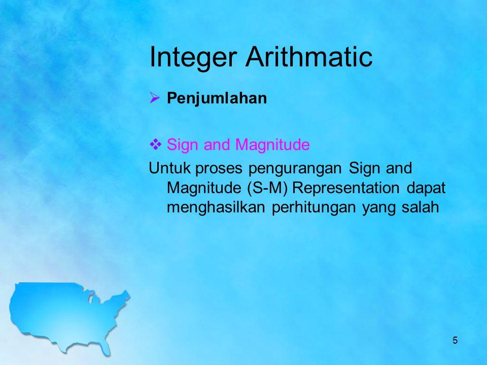 Integer Arithmatic  Penjumlahan  Sign and Magnitude Untuk proses pengurangan Sign and Magnitude (S-M) Representation dapat menghasilkan perhitungan