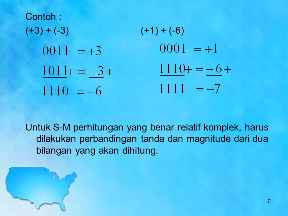 Contoh : (+3) + (-3)(+1) + (-6) Untuk S-M perhitungan yang benar relatif komplek, harus dilakukan perbandingan tanda dan magnitude dari dua bilangan y