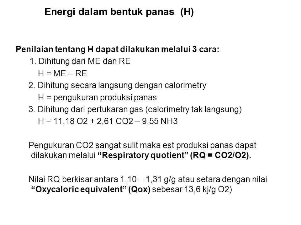 Energi & Nitrogen tersimpan (RE & RN) RE dapat dihitung melalui 2 cara: 1. Dihitung dari ME dan H RE = ME – H 2. Dihitung dari berat dan kandungan ene