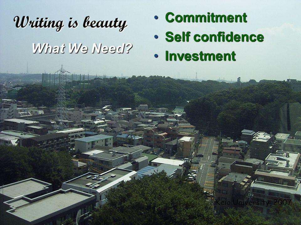 11/24/201418 CommitmentCommitment Self confidenceSelf confidence InvestmentInvestment Writing is beauty What We Need.