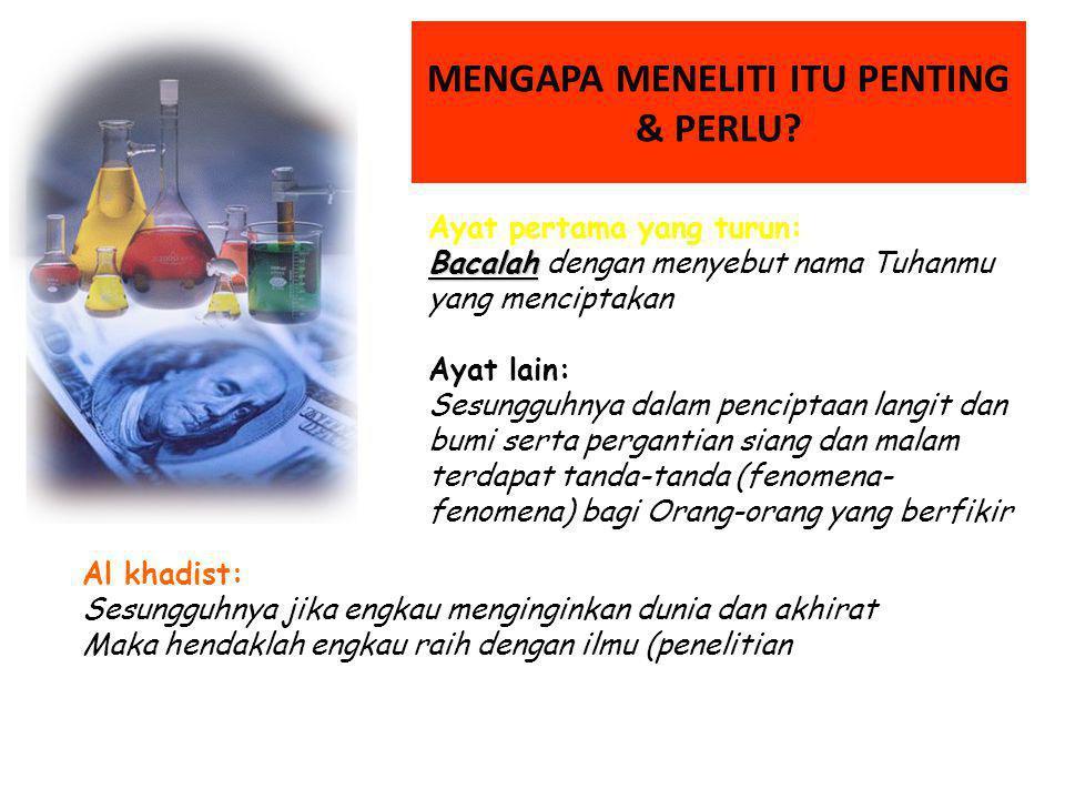 MENGAPA MENELITI ITU PENTING & PERLU.