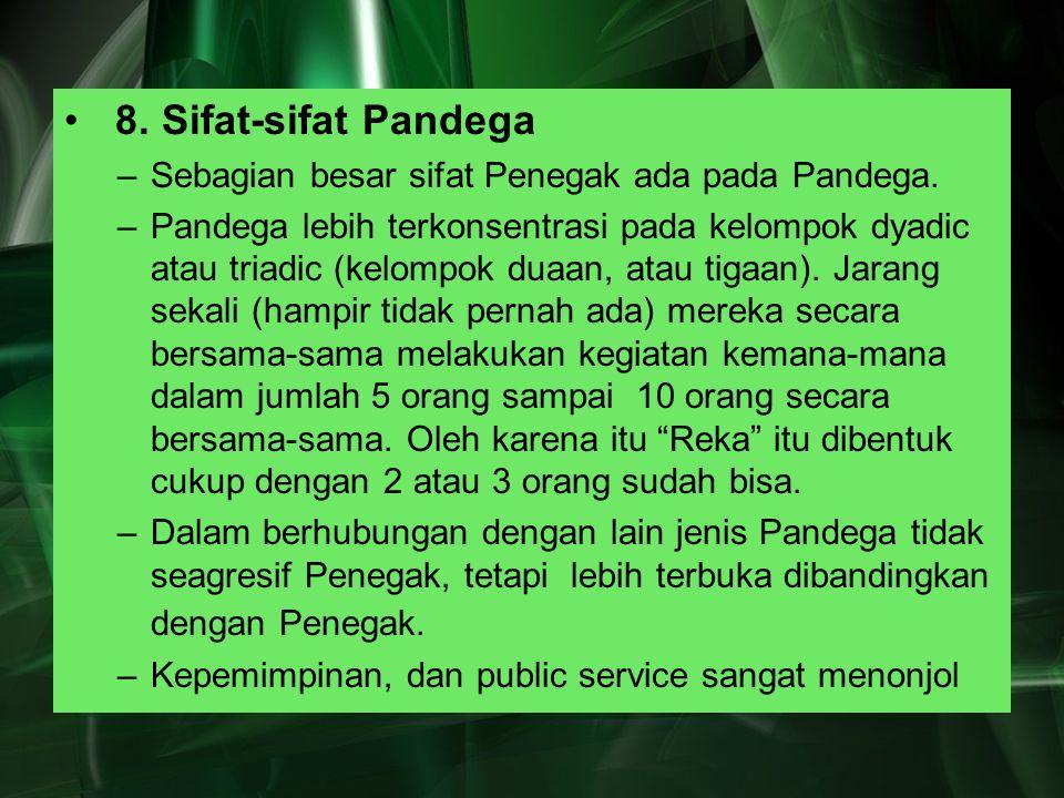 8. Sifat-sifat Pandega –Sebagian besar sifat Penegak ada pada Pandega. –Pandega lebih terkonsentrasi pada kelompok dyadic atau triadic (kelompok duaan