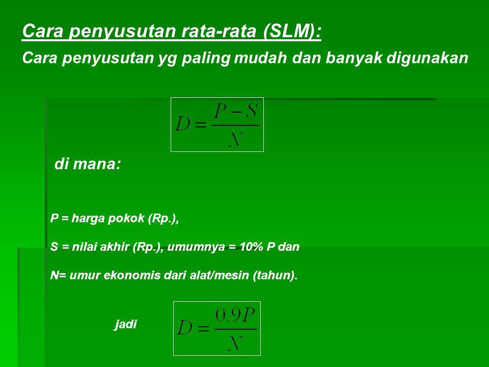 Cara penyusutan rata-rata (SLM): di mana: P = harga pokok (Rp.), S = nilai akhir (Rp.), umumnya = 10% P dan N= umur ekonomis dari alat/mesin (tahun).
