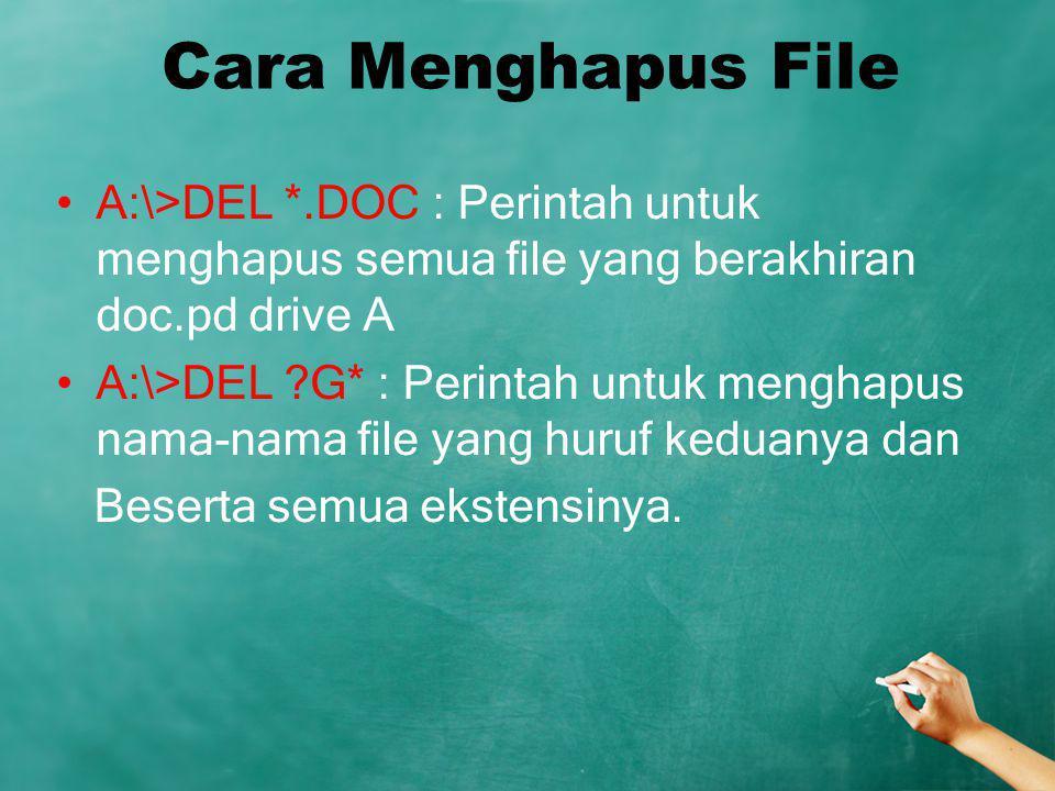 Cara Menghapus File A:\>DEL *.DOC : Perintah untuk menghapus semua file yang berakhiran doc.pd drive A A:\>DEL ?G* : Perintah untuk menghapus nama-nam