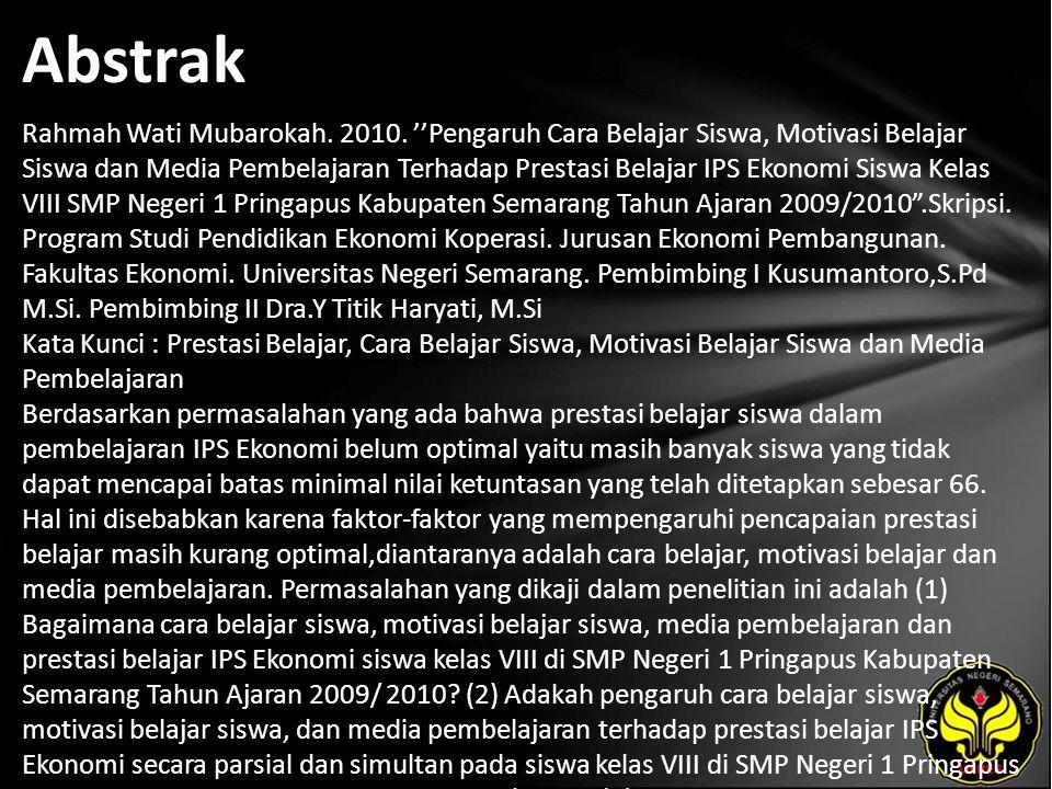 Abstrak Rahmah Wati Mubarokah. 2010.