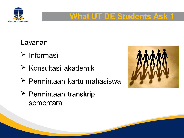 What UT DE Students Ask 1 Layanan  Informasi  Konsultasi akademik  Permintaan kartu mahasiswa  Permintaan transkrip sementara
