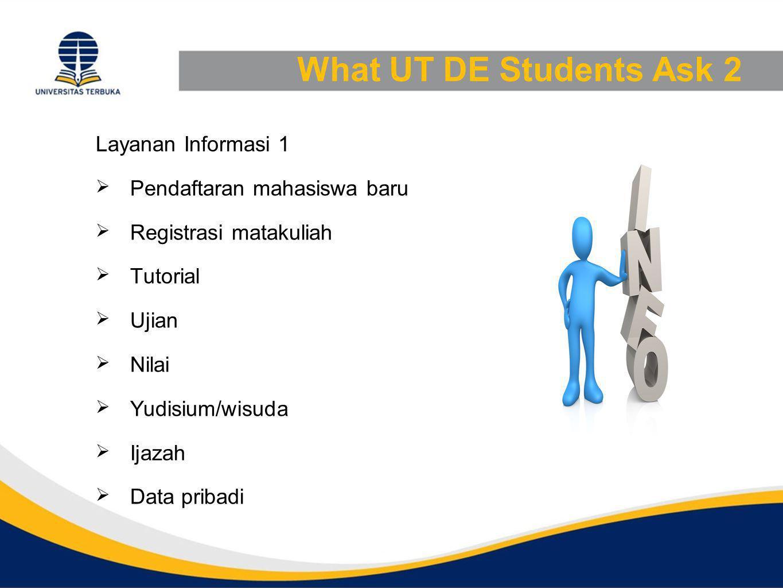 What UT DE Students Ask 2 Layanan Informasi 1  Pendaftaran mahasiswa baru  Registrasi matakuliah  Tutorial  Ujian  Nilai  Yudisium/wisuda  Ijazah  Data pribadi