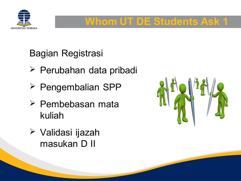 Whom UT DE Students Ask 1 Bagian Registrasi  Perubahan data pribadi  Pengembalian SPP  Pembebasan mata kuliah  Validasi ijazah masukan D II