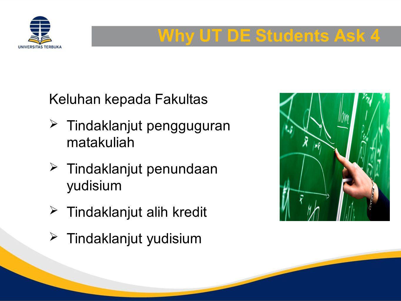 Why UT DE Students Ask 4 Keluhan kepada Fakultas  Tindaklanjut pengguguran matakuliah  Tindaklanjut penundaan yudisium  Tindaklanjut alih kredit  Tindaklanjut yudisium