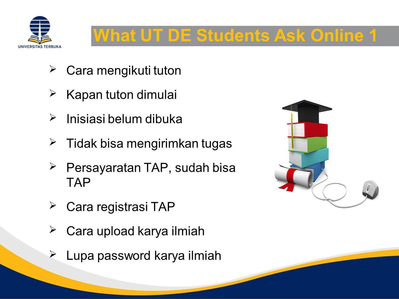 What UT DE Students Ask Online 1  Cara mengikuti tuton  Kapan tuton dimulai  Inisiasi belum dibuka  Tidak bisa mengirimkan tugas  Persayaratan TA