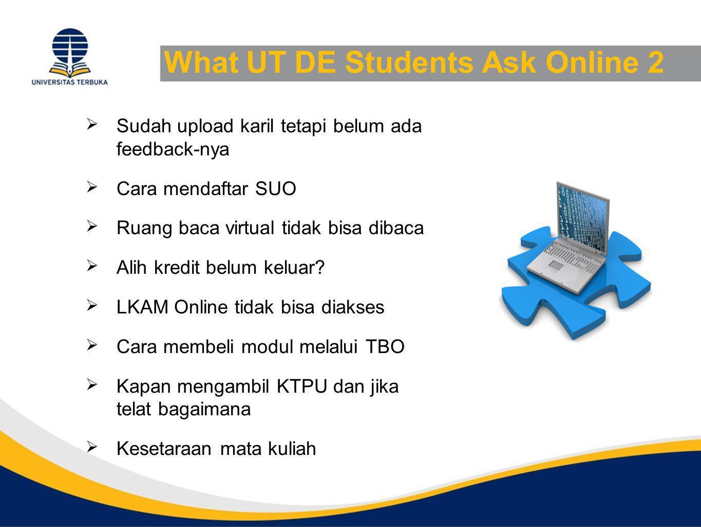 What UT DE Students Ask Online 2  Sudah upload karil tetapi belum ada feedback-nya  Cara mendaftar SUO  Ruang baca virtual tidak bisa dibaca  Alih kredit belum keluar.