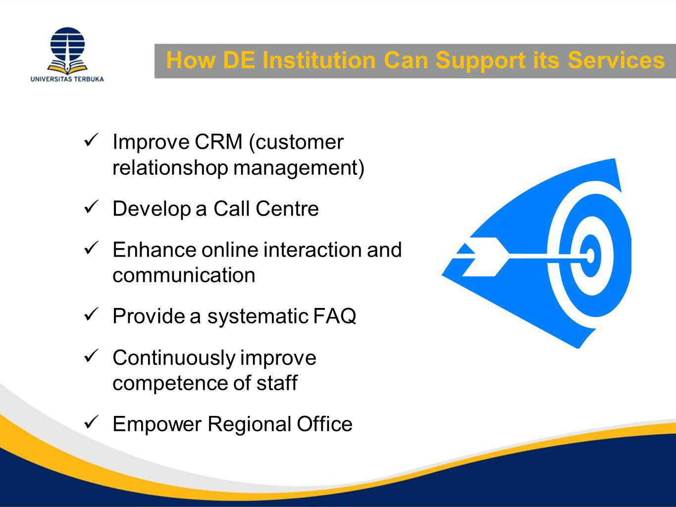 How DE Institution Can Support its Services Improve CRM (customer relationshop management) Develop a Call Centre Enhance online interaction and commun