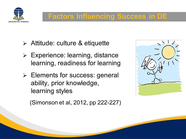 Factors Influencing Success in DE  Attitude: culture & etiquette  Experience: learning, distance learning, readiness for learning  Elements for success: general ability, prior knowledge, learning styles (Simonson et al, 2012, pp 222-227)
