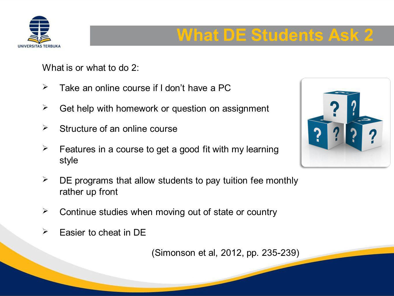 What DE Student Ask 3 How to and who 1.