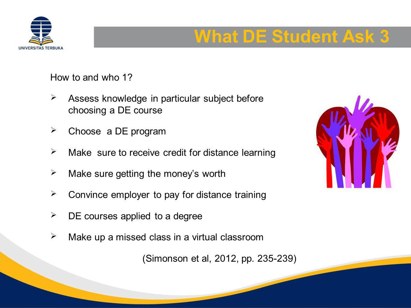 What DE Student Ask 4 How to and who 2  Who teaches online courses  How is homework submitted  How well I'm doing in an online course  Combine DE with traditional degree program  Learning anytime, anywhere works with real time instrution (Simonson et al, 2012, pp.