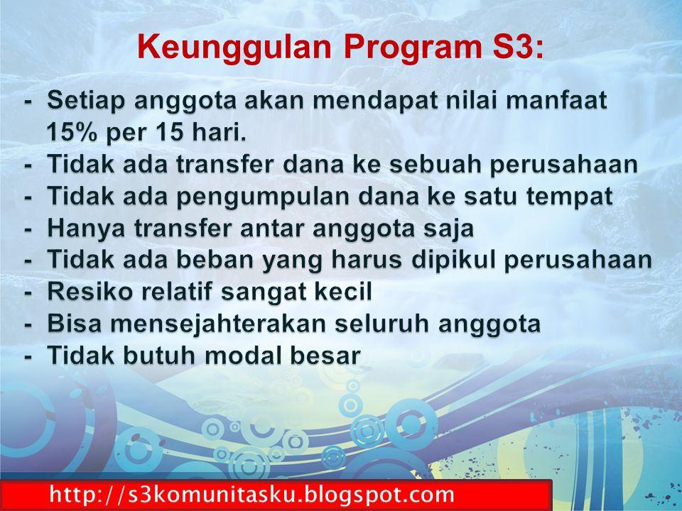 S3 adalah wadah komunitas gotong-royong MEMBANTU & DIBANTU yang sifatnya sukarela, sesuai dengan kemampuan anda masing-masing.