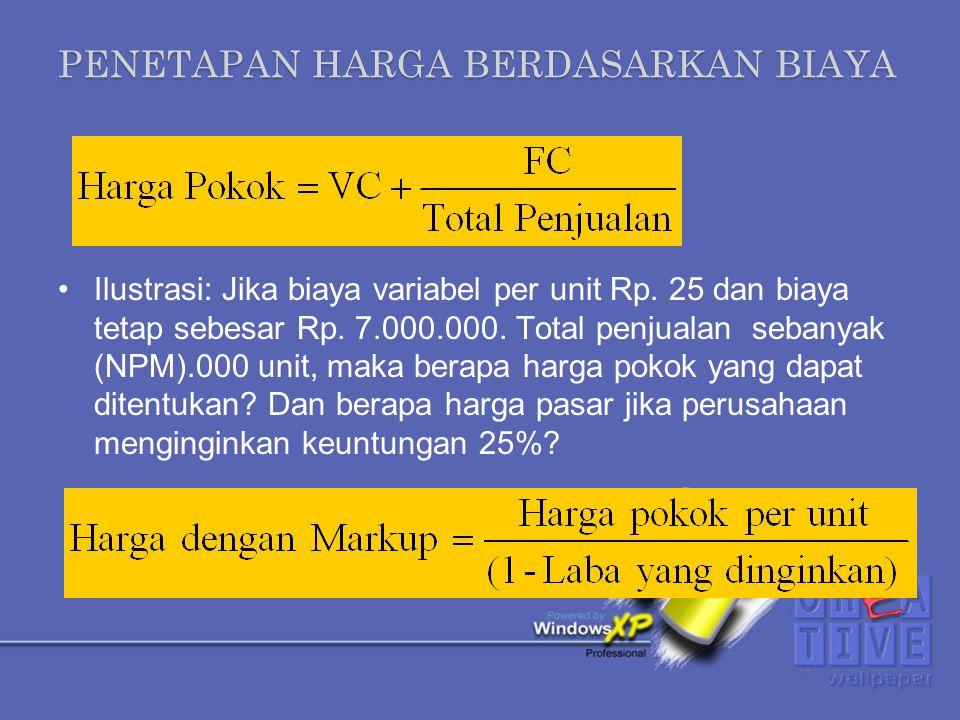 PENETAPAN HARGA BERDASARKAN BIAYA Jika perusahaan menginginkan laba 20%, maka penentuan harga mark up nya sebagai berikut: