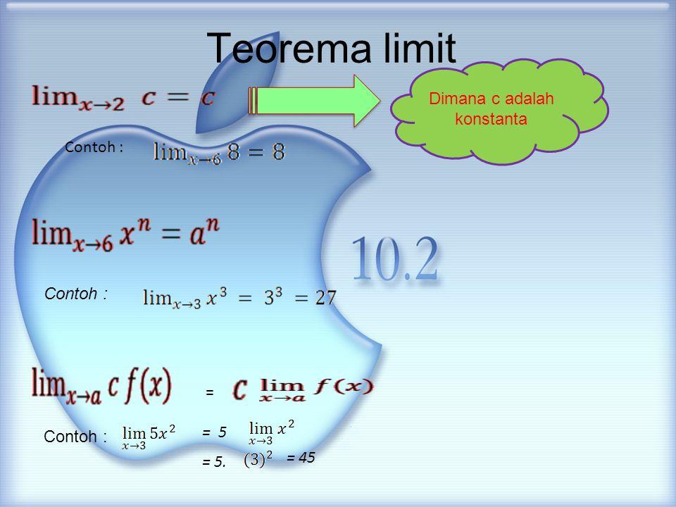 Teorema limit Contoh : = = 5 = 5. = 45 Dimana c adalah konstanta