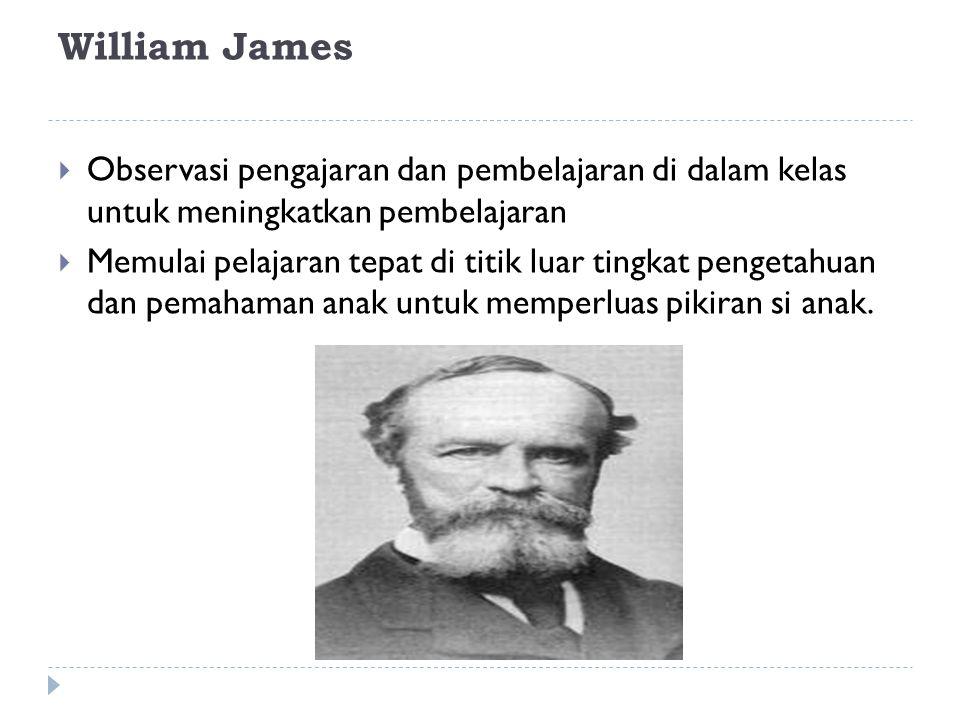 William James  Observasi pengajaran dan pembelajaran di dalam kelas untuk meningkatkan pembelajaran  Memulai pelajaran tepat di titik luar tingkat p