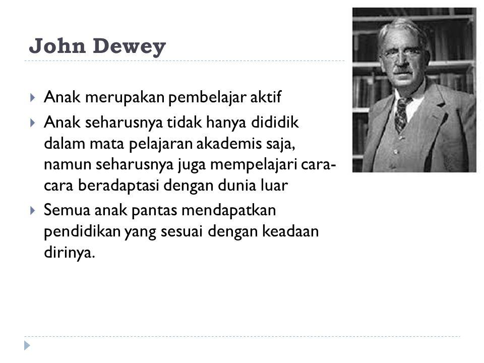 John Dewey  Anak merupakan pembelajar aktif  Anak seharusnya tidak hanya dididik dalam mata pelajaran akademis saja, namun seharusnya juga mempelajari cara- cara beradaptasi dengan dunia luar  Semua anak pantas mendapatkan pendidikan yang sesuai dengan keadaan dirinya.