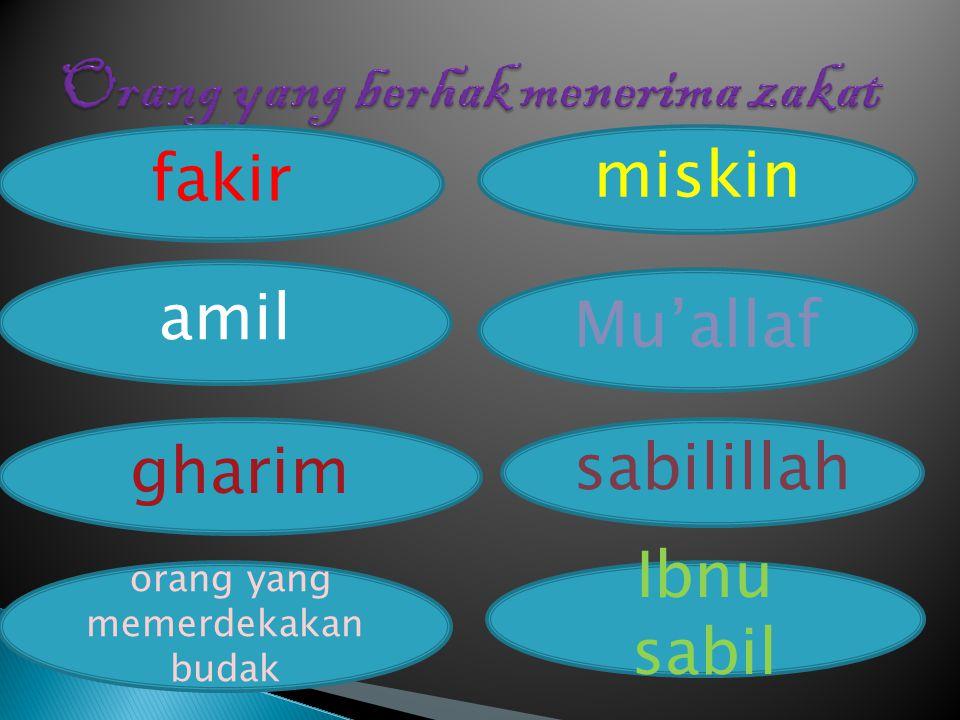 fakir amil miskin Mu'allaf gharim sabilillah orang yang memerdekakan budak Ibnu sabil