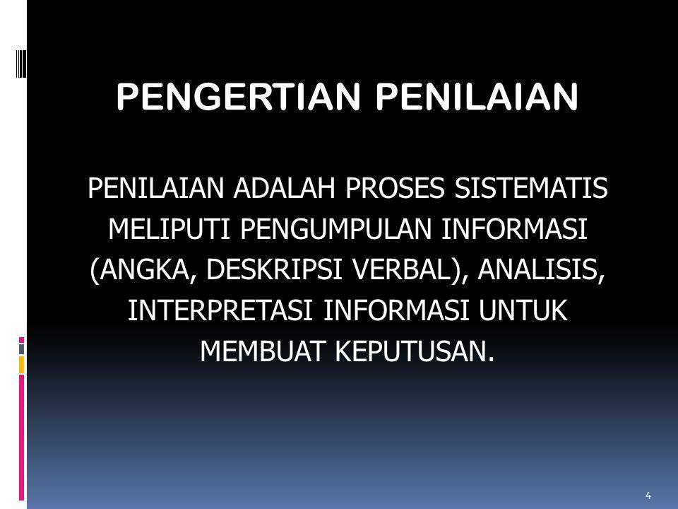 PENILAIAN ADALAH PROSES SISTEMATIS MELIPUTI PENGUMPULAN INFORMASI (ANGKA, DESKRIPSI VERBAL), ANALISIS, INTERPRETASI INFORMASI UNTUK MEMBUAT KEPUTUSAN.