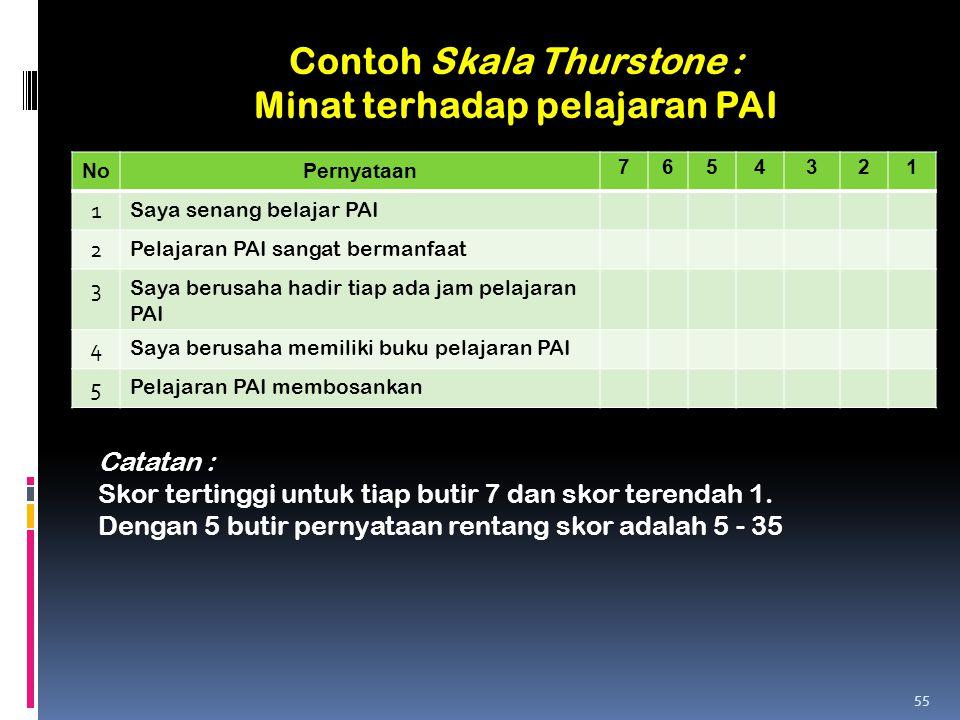 Contoh Skala Thurstone : Minat terhadap pelajaran PAI NoPernyataan 7654321 1 Saya senang belajar PAI 2 Pelajaran PAI sangat bermanfaat 3 Saya berusaha