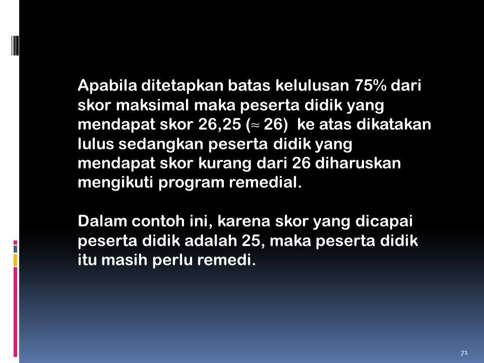 Apabila ditetapkan batas kelulusan 75% dari skor maksimal maka peserta didik yang mendapat skor 26,25 (≈ 26) ke atas dikatakan lulus sedangkan peserta
