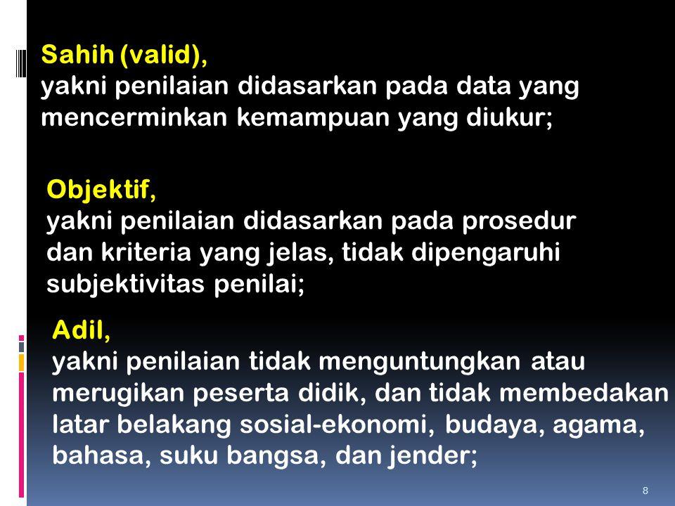 Sahih (valid), yakni penilaian didasarkan pada data yang mencerminkan kemampuan yang diukur; Objektif, yakni penilaian didasarkan pada prosedur dan kr
