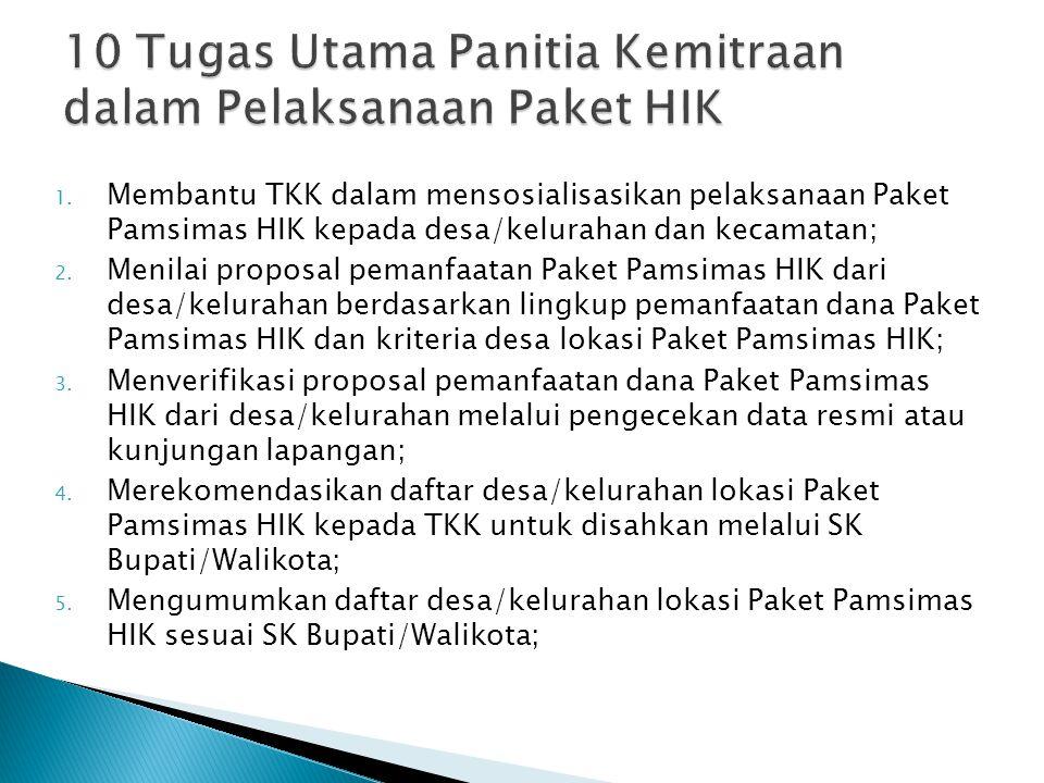 1. Membantu TKK dalam mensosialisasikan pelaksanaan Paket Pamsimas HIK kepada desa/kelurahan dan kecamatan; 2. Menilai proposal pemanfaatan Paket Pams