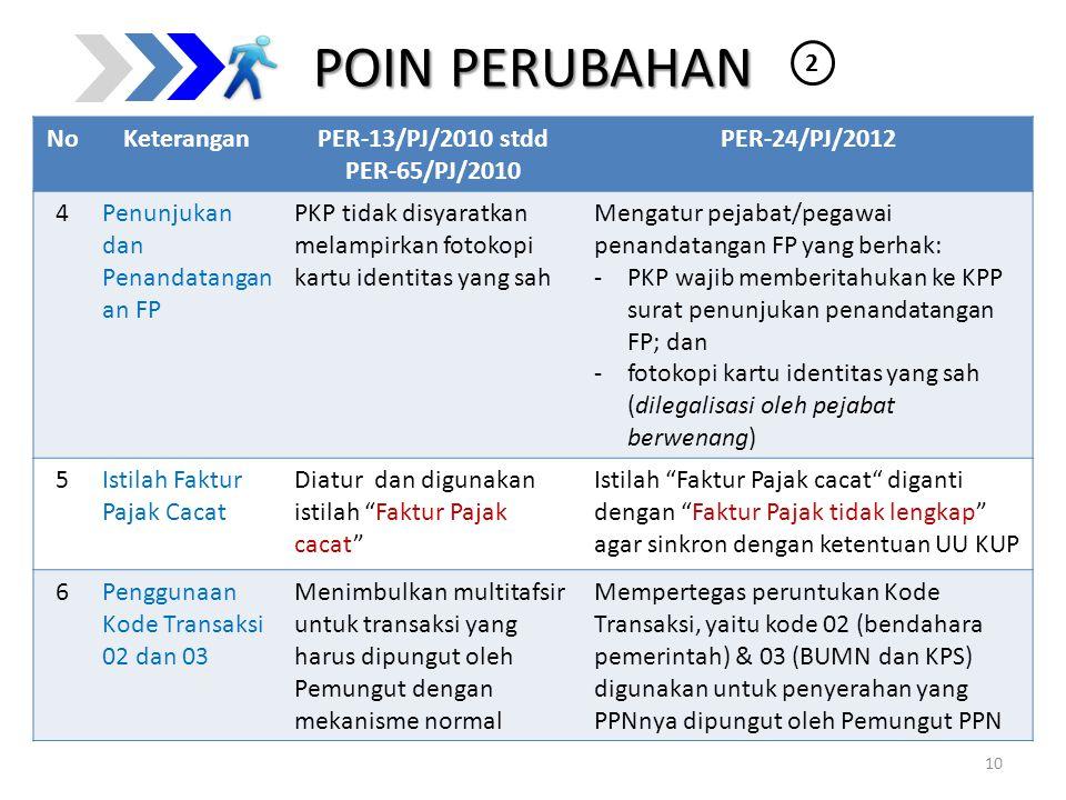 POIN PERUBAHAN NoKeteranganPER-13/PJ/2010 stdd PER-65/PJ/2010 PER-24/PJ/2012 4Penunjukan dan Penandatangan an FP PKP tidak disyaratkan melampirkan fot