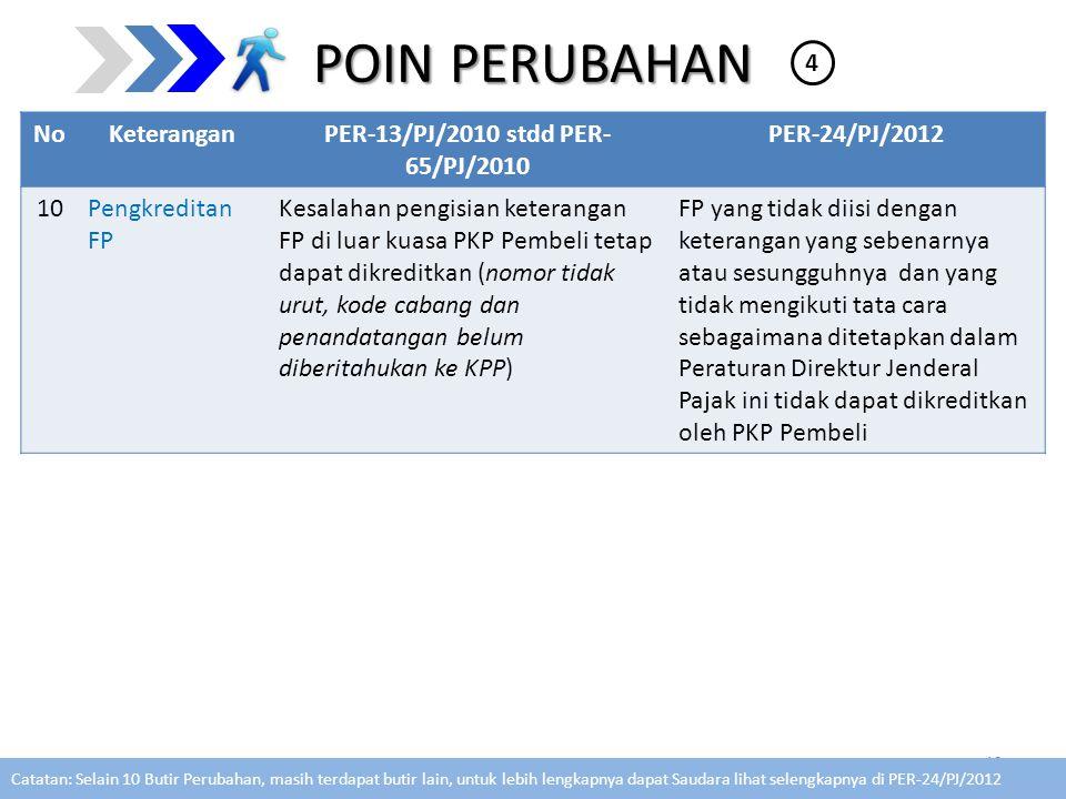 POIN PERUBAHAN NoKeteranganPER-13/PJ/2010 stdd PER- 65/PJ/2010 PER-24/PJ/2012 10Pengkreditan FP Kesalahan pengisian keterangan FP di luar kuasa PKP Pe