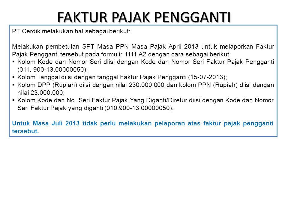 FAKTUR PAJAK PENGGANTI PT Cerdik melakukan hal sebagai berikut: Melakukan pembetulan SPT Masa PPN Masa Pajak April 2013 untuk melaporkan Faktur Pajak