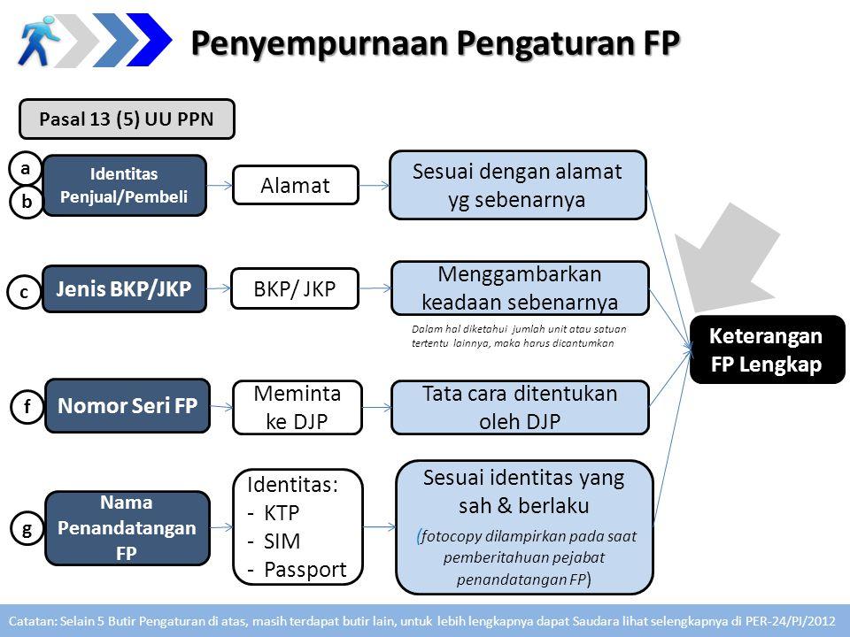 Identitas Penjual/Pembeli Alamat Sesuai dengan alamat yg sebenarnya Jenis BKP/JKP BKP/ JKP Menggambarkan keadaan sebenarnya Nomor Seri FP Meminta ke D